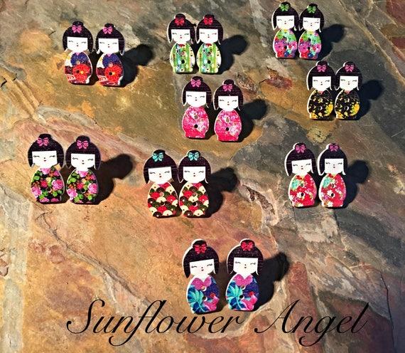 Geisha girl wooden earrings