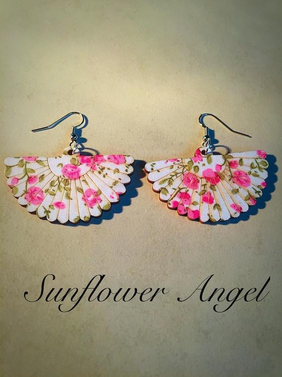 Cute boho hippy, wooden button pink cherry blossom fan hook earrings.