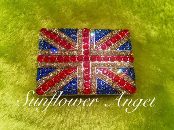 Union Jack brooch. British flag, royal wedding, Diamanté. Sparkles.