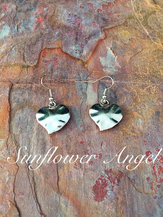 Earrings, heart hook earrings for pierced ears.