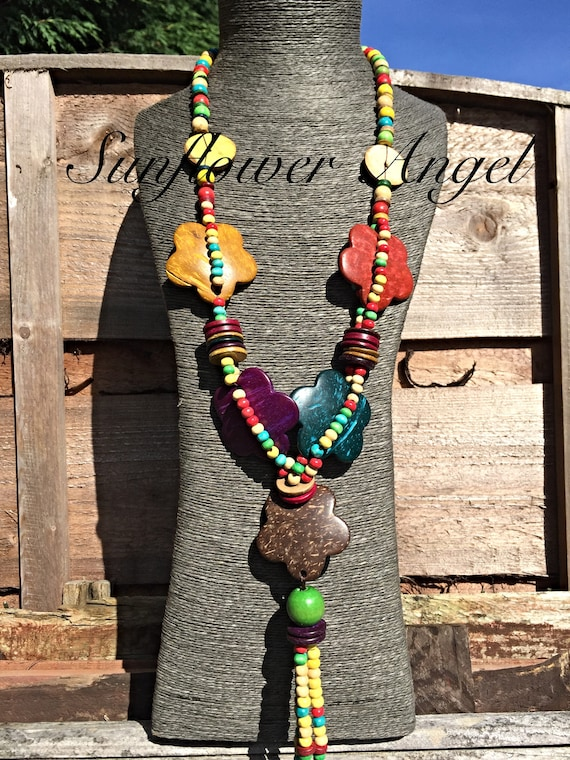 Necklace, With Wooden Beads, coconut shell, tassels And Thin Flowers. Colourful