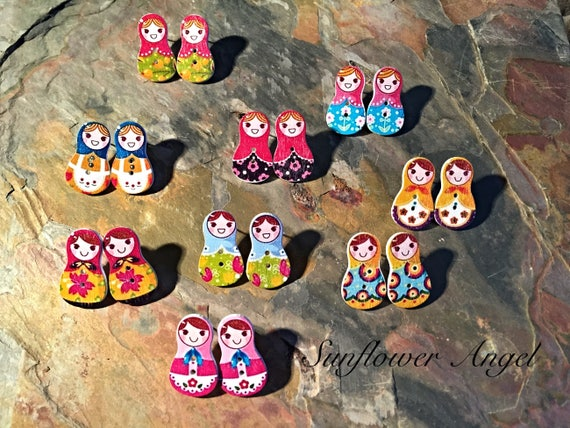 Russian doll wooden earrings, stud back with bullet fastener. In 9 different colours