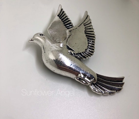 Dove brooch, large steel brooch, stunning and  very special.