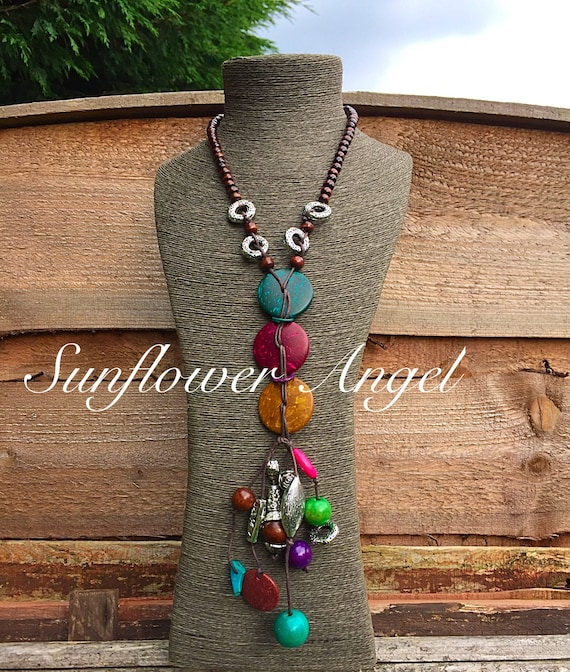 Funky Vibrant abstract wooden Necklace, With Wooden Beads, coconut shell And silver acrylic shapes, boho hippy.
