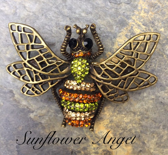 Vintage style bronze glamourous bee brooch (Manchester bee). Bumble bee with crystals and enamel.