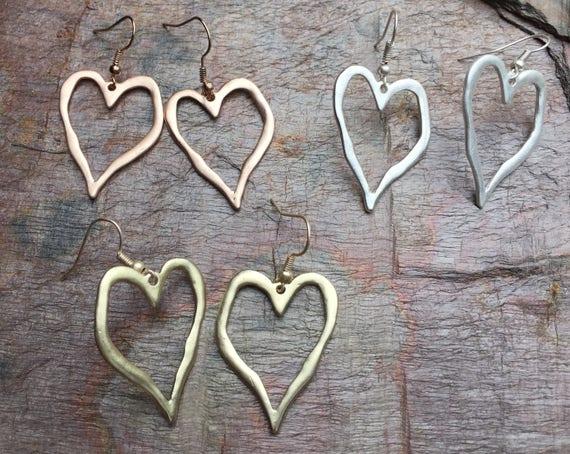 Stunning earrings, heart on hook earrings in 5 colours, boho hippy chic