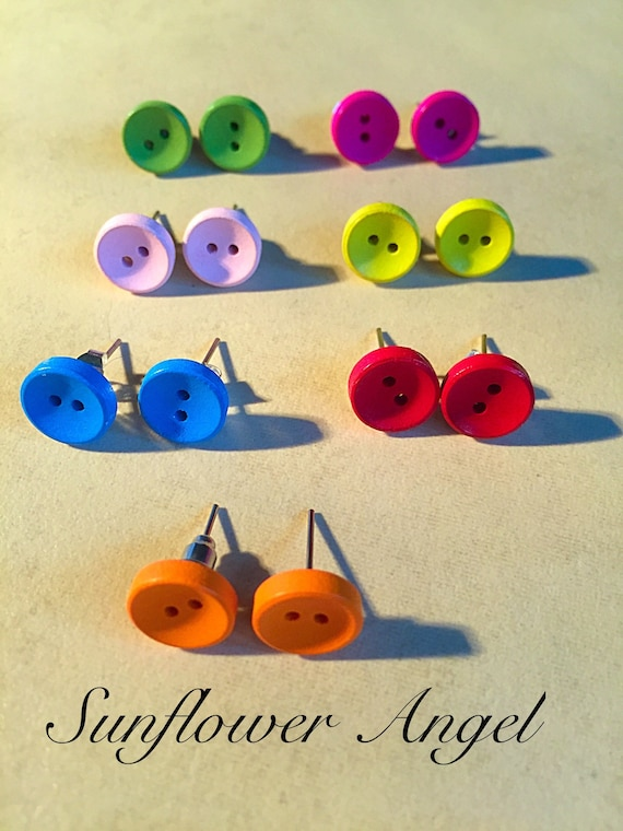 Different coloured button quirky wooden earrings, studs.