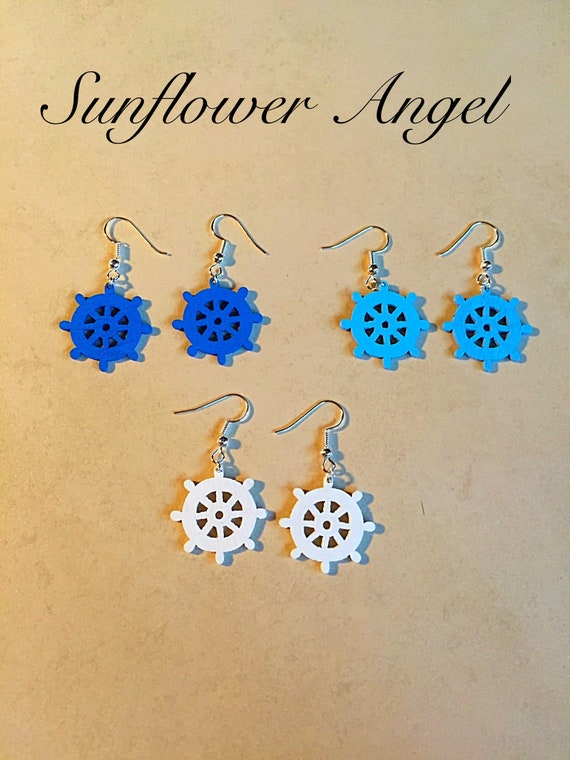 Handcrafted nautical, ships wheel wooden earrings, in blue or white
