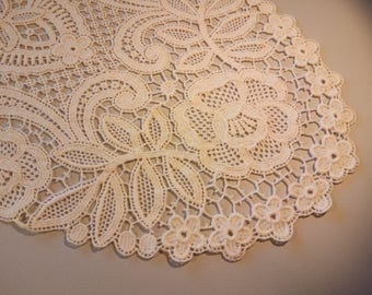 Wonderful 2 white color Italian vintage doilies