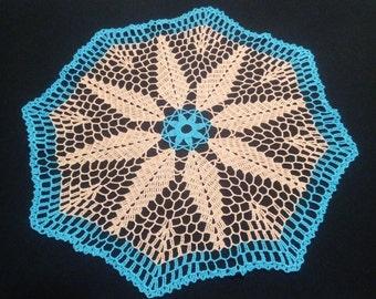 "READY TO SHIP Light peach blue crochet doily 19,3""-blue doily-round tablecloth-crochet doilies-crochet tablecloth - Handmade tablecloth"