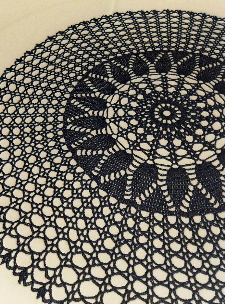 Black Large Crochet Doily 24 Round Tablecloth Crochet Etsy