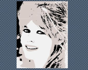 Embroidery Brigitte Bardot movie star celebrity