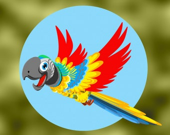 Embroidery Colorful parrot flying happy