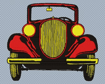 Embroidery vintage car red machine digital files