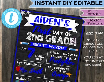 first day of school sign chalkboard class of 2030 any color any school year personalize digital printable template instant self editable