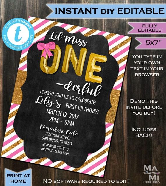 One Derful Birthday Invitation One Derful First Birthday Invite 1st Birthday Chalkboard Template Custom Printable Instant Self Editable 5x7