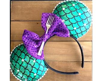 Little Mermaid ears , Minnie Mouse Ears , Ariel Mickey Ears, Ariel Ears , Ariel Minnie Ears , Mouse Ears , Disney Ears, Headband Ears,