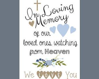In Loving Memory sign, printable