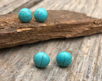 Turquoise stud earrings, faux howlite, boho style, silver tone
