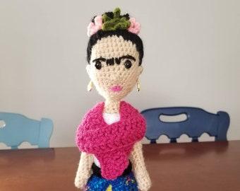 Frida Kahlo doll, handmade, crochet doll, feminist gift, artist gift, feminist nursery, Frida doll, teacher gift