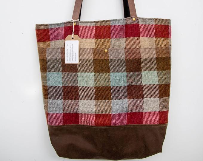 Tote bag - check wool tweed & waxed canvas