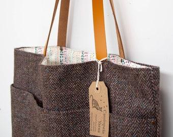 Tote bag - brown herringbone wool tweed & waxed canvas
