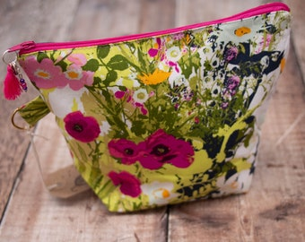 Small project bag - white floral - sock knitting bag