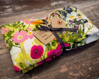 Handmade wheat bag with lavender & removable cover - large - white floral