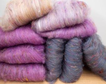 Sari silk & wool mini batts