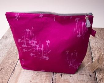 Medium project bag - pink floral - shawl knitting bag