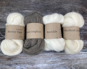Pick & Mix boxes - 200g natural wool tops, choice of breeds for spinning and felting