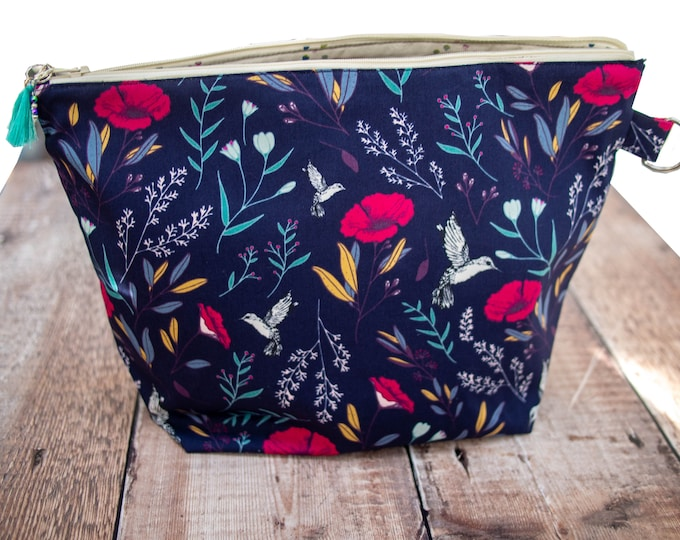 Medium project bag - navy floral - shawl knitting bag