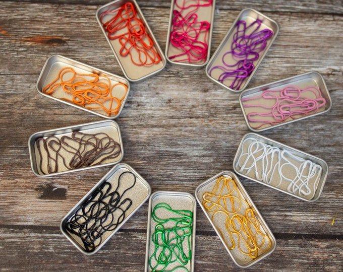 10 Knitters' safety pins in mini tin - solids