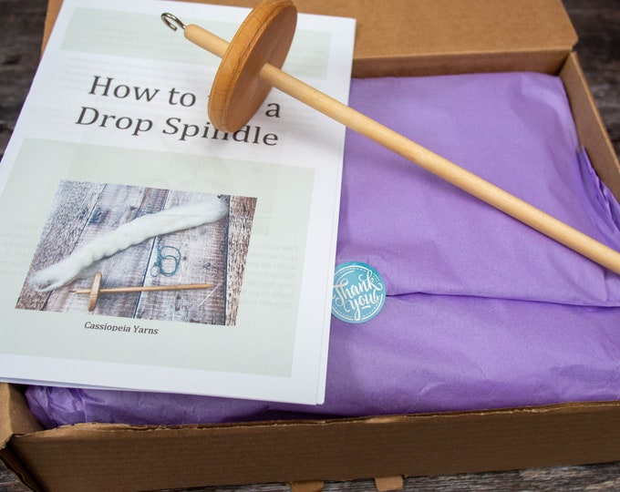Learn to Spin Kit with spindle & 200g natural wool tops, choice of breeds