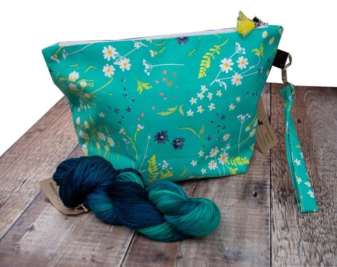 Medium project bag - turquoise floral - shawl knitting bag