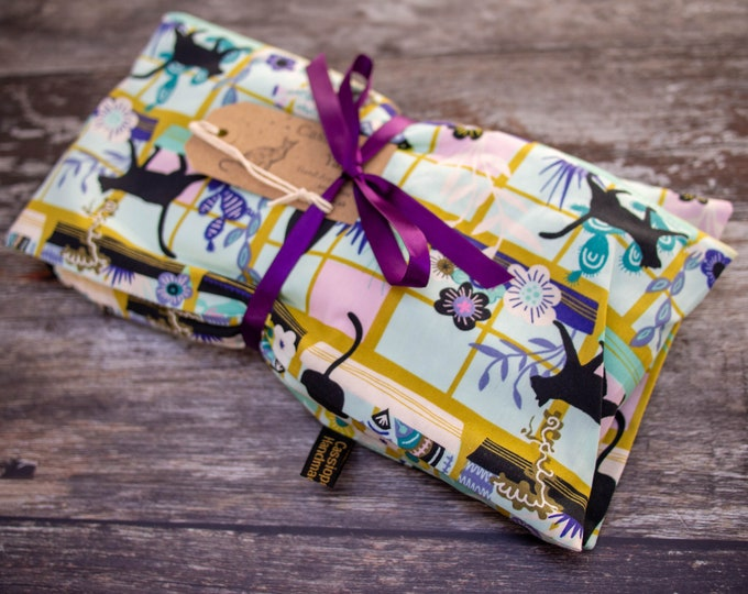 Handmade wheat bag with lavender & removable cover - large - cats