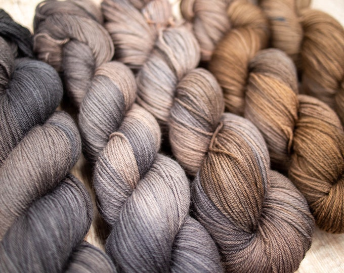 5 Skein Fade Set - Merino 4Ply Yarn - Hand dyed one of a kind - Terra