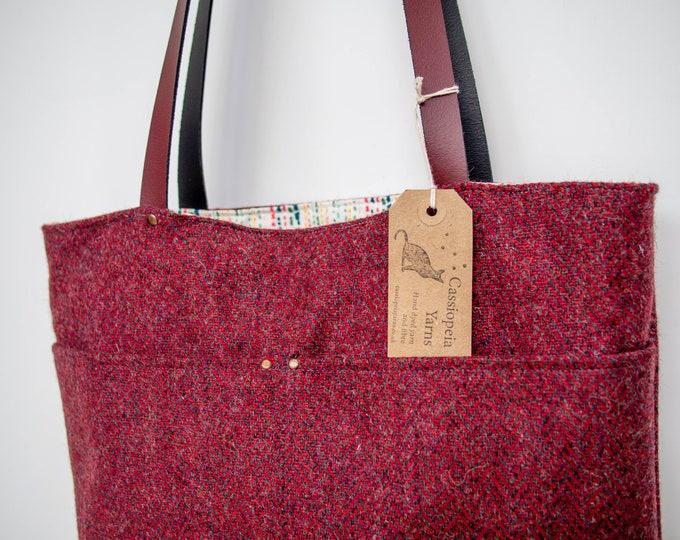 Tote bag - red herringbone wool tweed & waxed canvas
