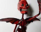 Mexican devil, paper sculpture, papier maché, cartonería, mexican skulls, mexican traditional,paper mache, papercraft,metallic wire interior