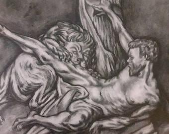 "Falconet's sculpture ""Milo de Crotona"" imitation drawing.Academic drawing. Pencil drawing on Paper cardboard. 2017. Unique piece, art work"
