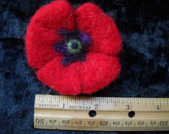 Needle Felted Poppy Brooch Pin