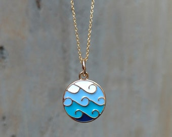 Dainty gold necklace, ocean wave necklace, summer jewelry, ocean, wave charm, women's necklace, girls jewelry, dainty chain, beach,wholesale