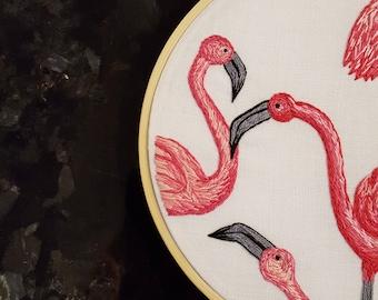 Flamingos - Embroidery Art - Hoop Art - Fibre Art