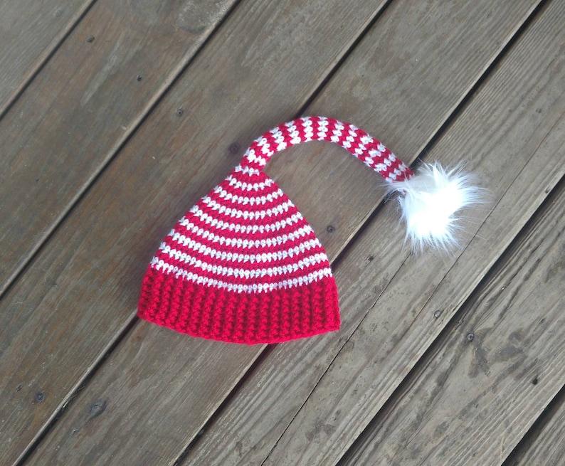 Striped Elf Hat with Faux Fur Pom Pom Crochet Hat