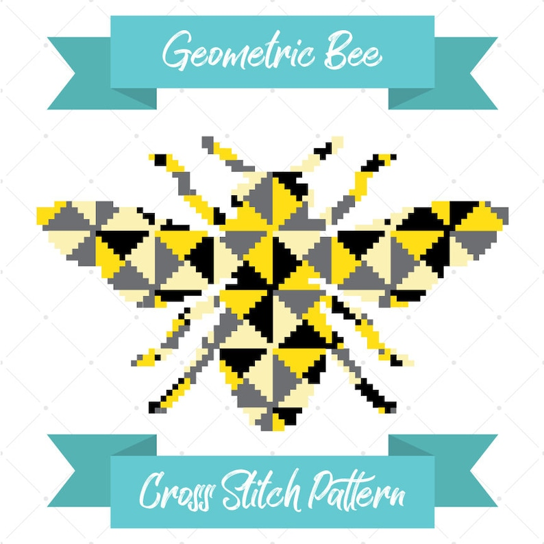 Geometric Bee Cross Stitch Pattern Bumble Bee Honey Bee image 0
