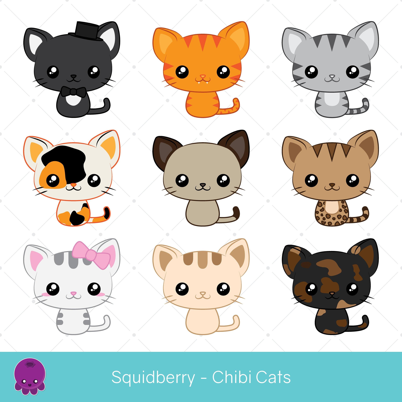 Chibi Cats Clip Art Siamese Cat Tuxedo Cat Tortoiseshell Etsy
