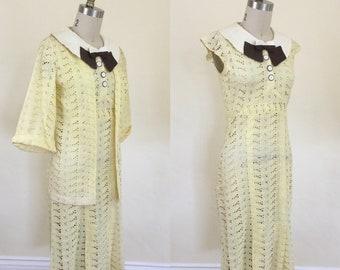 1930s Yellow Eyelet Dress & Jacket Set