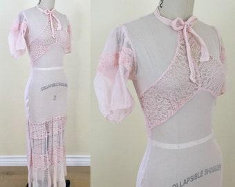 1930s Sheer Mesh Full Length Dress