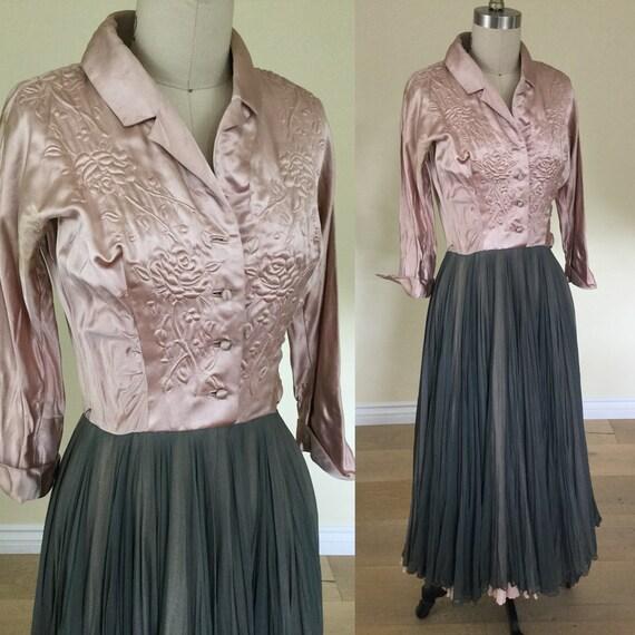 1940s /1950s Trapunto Satin and Chiffon Dress