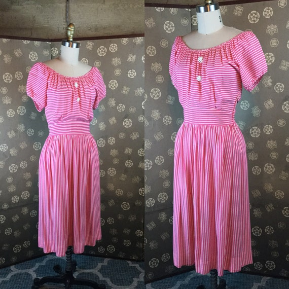 1940 Striped Peasant Dress